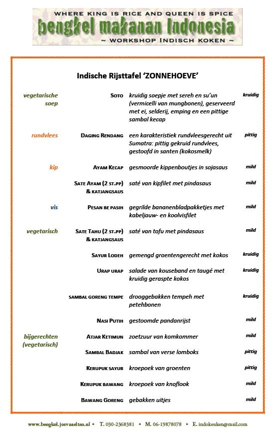voorbeeld menulijst